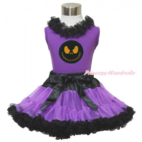 Halloween Dark Purple Tank Top Black Chiffon Lacing & Nightmare Before Christmas Jack & Black Dark Purple Pettiskirt MN137