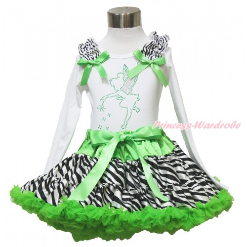 White Long Sleeve Top Zebra Ruffles Dark Green Bow & Sparkle Rhinestone Tinker Bell & Dark Green Zebra Pettiskirt MW529