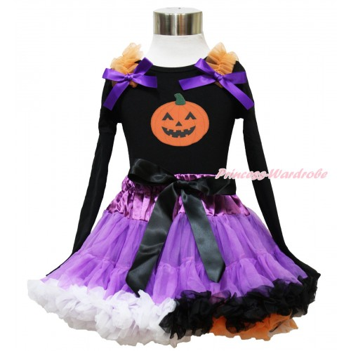 Halloween Black Long Sleeve Top Orange Ruffles Dark Purple Bow & Pumpkin Print & Dark Purple Rainbow Pettiskirt MW540