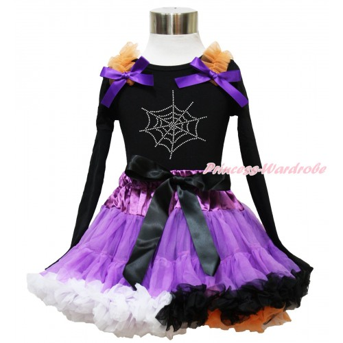 Halloween Black Long Sleeve Top Orange Ruffles Dark Purple Bow & Sparkle Rhinestone Spider Web & Dark Purple Rainbow Pettiskirt MW541
