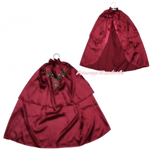 Frozen Raspberry Wine Red Sparkle Rhinestone Princess Anna Satin Cape Coat Costume SH84