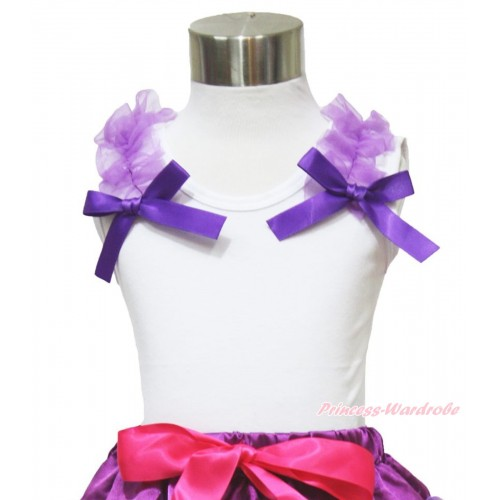White Tank Top Dark Purple Ruffles & Bow TB898