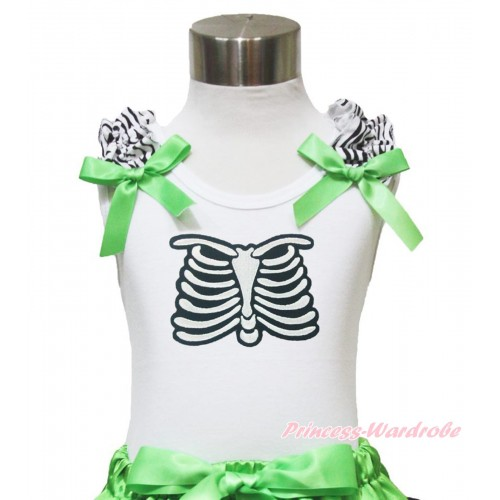 Halloween White Tank Top Zebra Ruffles Dark Green Bow & Skeleton Rib Print TB899