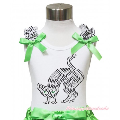 Halloween White Tank Top Zebra Ruffles Dark Green Bow & Sparkle Rhinestone Black Cat TB900