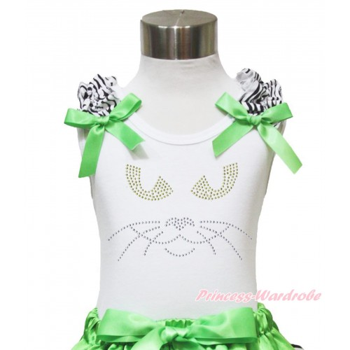 Halloween White Tank Top Zebra Ruffles Dark Green Bow & Sparkle Rhinestone Black Cat Face TB901