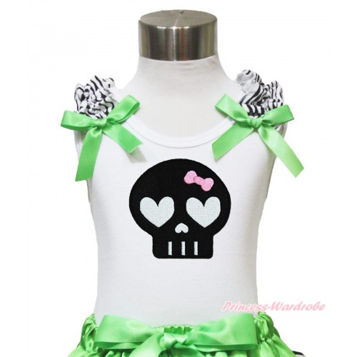 Halloween White Tank Top Zebra Ruffles Dark Green Bow & Balck Skeleton TB902