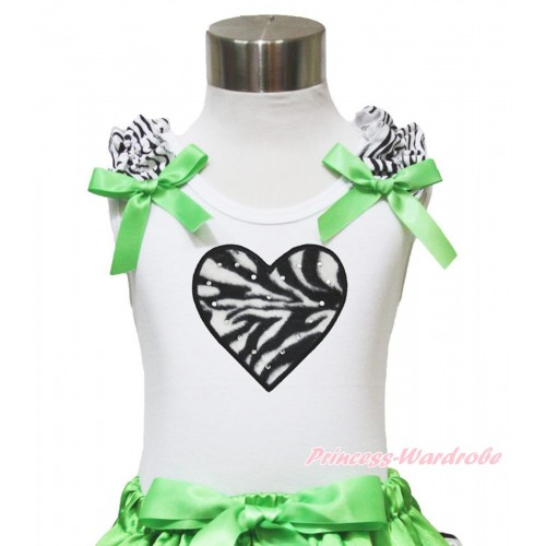 Valentine's Day White Tank Top Zebra Ruffles Dark Green Bow & Zebra Heart TB903