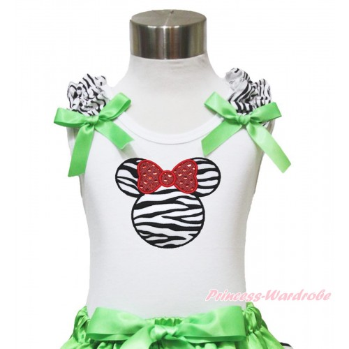 White Tank Top Zebra Ruffles Dark Green Bow & Zebra Minnie TB904