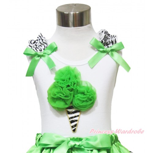 White Tank Top Zebra Ruffles Dark Green Bow & Dark Green Zebra Ice Cream TB906