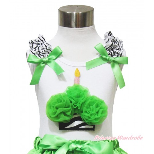 White Tank Top Zebra Ruffles Dark Green Bow & Dark Green Rosettes Zebra Birthday Cake TB907