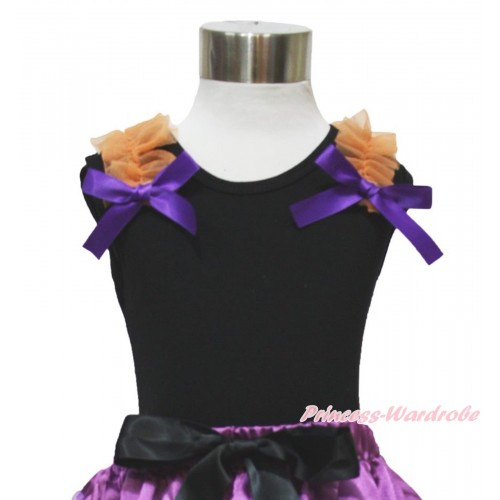 Black Tank Top Orange Ruffles Dark Purple Bow TB914