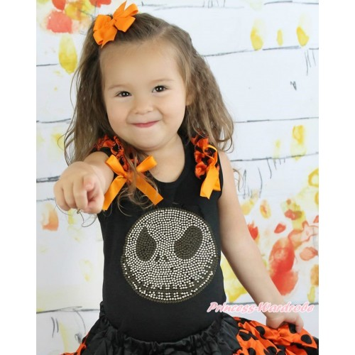 Halloween Black Tank Top Orange Black Dots Ruffles Orange Bow & Sparkle Rhinestone Nightmare Before Christmas Jack TB925