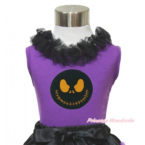 Halloween Dark Purple Tank Top Black Chiffon Lacing & Nightmare Before Christmas Jack TN261