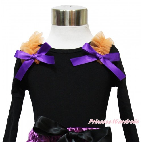 Black Long Sleeves Top & Orange Ruffles Dark Purple Bow TO373