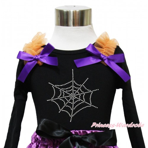 Halloween Black Long Sleeves Top Orange Ruffles Dark Purple Bow & Sparkle Rhinestone Spider Web TO375
