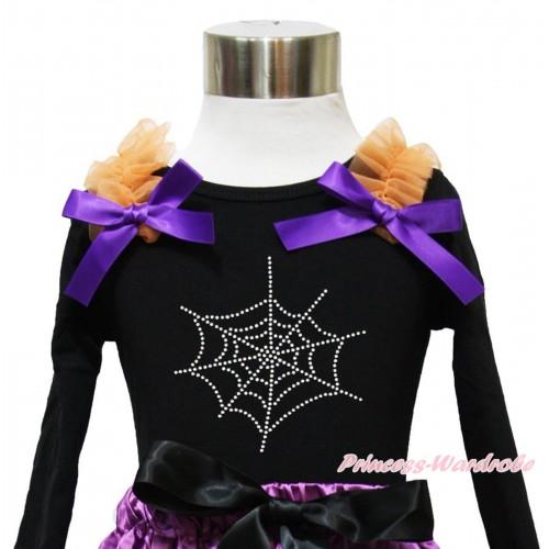 Halloween Black Long Sleeves Top Orange Ruffles Dark Purple Bow & Sparkle Rhinestone Spider Web TO375