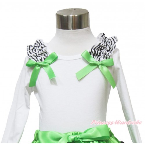 White Long Sleeves Top Zebra Ruffles Dark Green Bow TW484