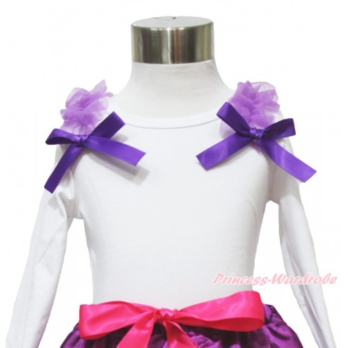 White Long Sleeves Top Dark Purple Ruffles & Bow TW485