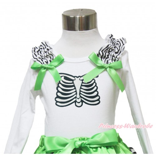 Halloween White Long Sleeves Top Zebra Ruffles Dark Green Bow & Skeleton Rib TW486