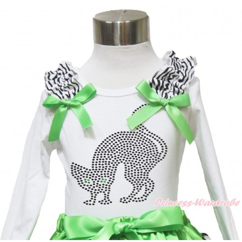 Halloween White Long Sleeves Top Zebra Ruffles Dark Green Bow & Sparkle Rhinestone Black Cat TW487