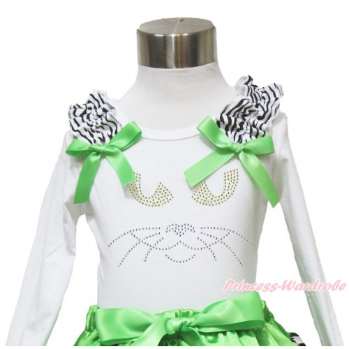 Halloween White Long Sleeves Top Zebra Ruffles Dark Green Bow & Sparkle Rhinestone Black Cat Face TW488