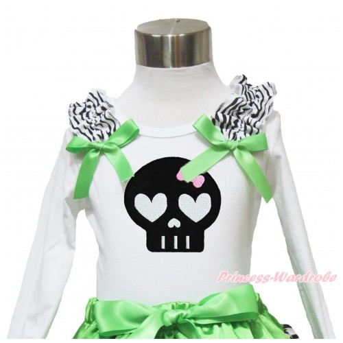 Halloween White Long Sleeves Top Zebra Ruffles Dark Green Bow & Black Skeleton TW489