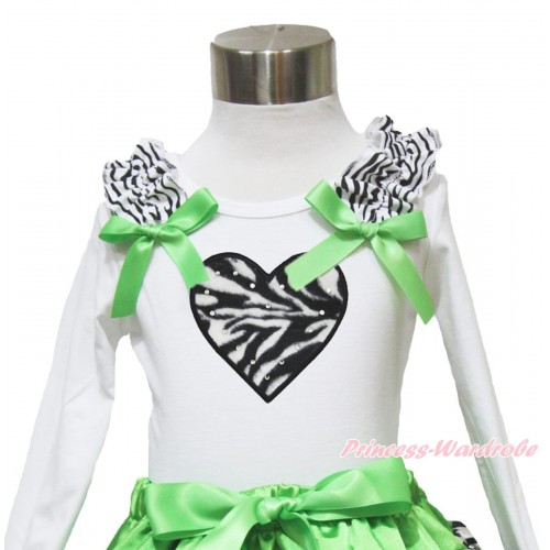 Valentine's Day White Long Sleeves Top Zebra Ruffles Dark Green Bow & Zebra Heart TW490