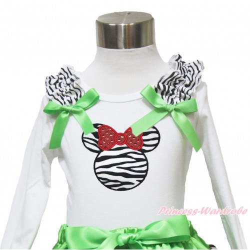 White Long Sleeves Top Zebra Ruffles Dark Green Bow & Zebra Minnie TW491