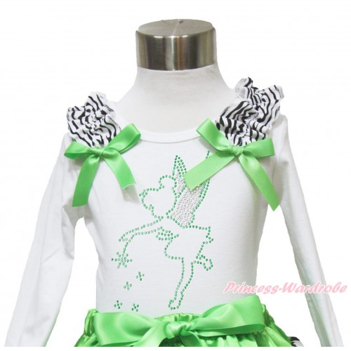 White Long Sleeves Top Zebra Ruffles Dark Green Bow & Sparkle Rhinestone Tinker Bell TW492