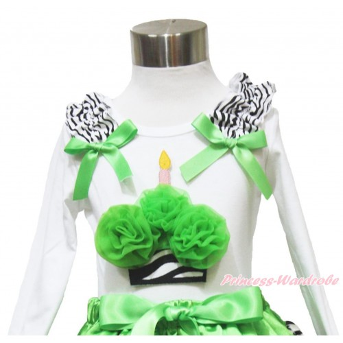 White Long Sleeves Top Zebra Ruffles Dark Green Bow & Dark Green Zebra Birthday Cake TW493