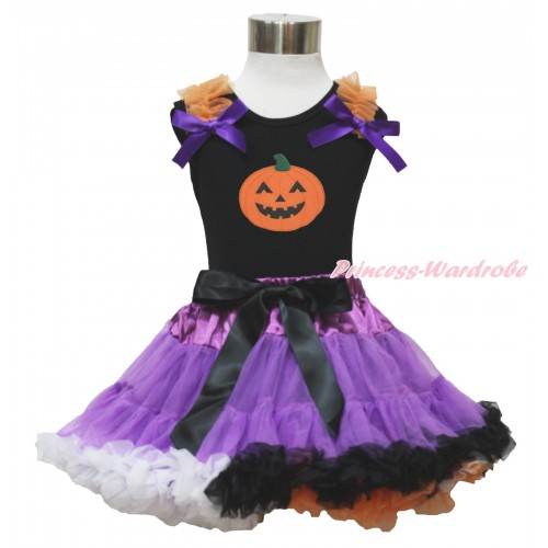 Halloween Black Tank Top Orange Ruffles Dark Purple Bows & Pumpkin & Dark Purple Rainbow Pettiskirt MG1332