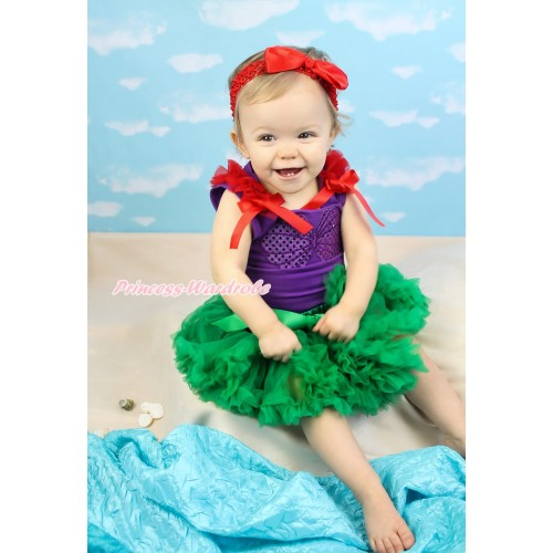 Dark Purple Baby Pettitop Red Ruffles & Bows & Mermaid Sea Shell Bra & Kelly Green Newborn Pettiskirt & Red Headband Silk Bow BG164