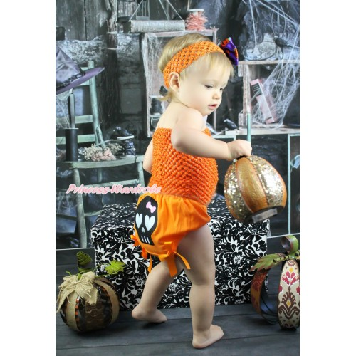 Halloween Orange Crochet Tube Top & Black Skeleton Orange Bows Bloomer & Orange Headband Purple Pumpkin Satin Bow 3PC Set CT686