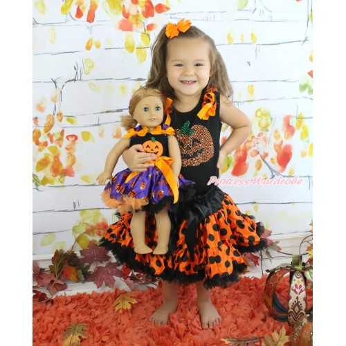 Halloween Black Tank Top Orange Black Dots Ruffles Orange Bows & Rhinestone Pumpkin & Orange Black Dots Girl Pettiskirt Matching Pumpkin Black Top & Purple Pumpkin Pettiskirt American Girl Doll Outfit Set DO044