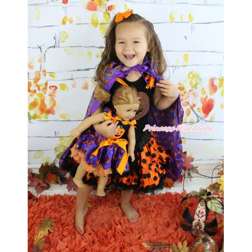 Halloween Black Tank Top Orange Black Dots Ruffles Orange Bows & Rhinestone Pumpkin & Orange Black Dots Girl Pettiskirt & Pumpkin Purple Satin Cape Matching Pumpkin Black Top & Purple Pumpkin Pettiskirt American Girl Doll Outfit Set DO045