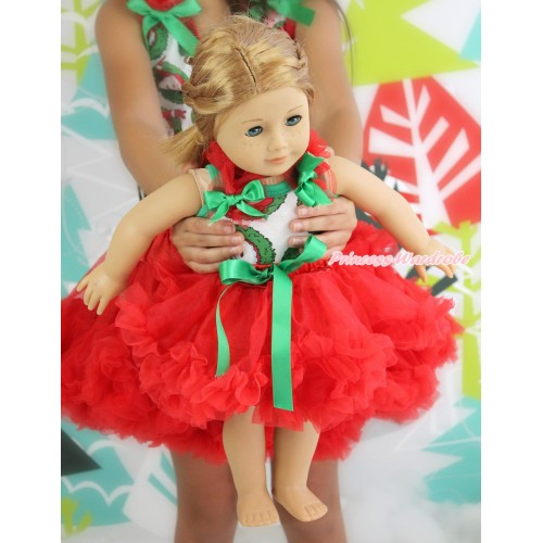 Xmas Santa Claus Tank Top Red Ruffles & Kelly Green Bow & Red Pettiskirt American Girl Doll Outfit DO047