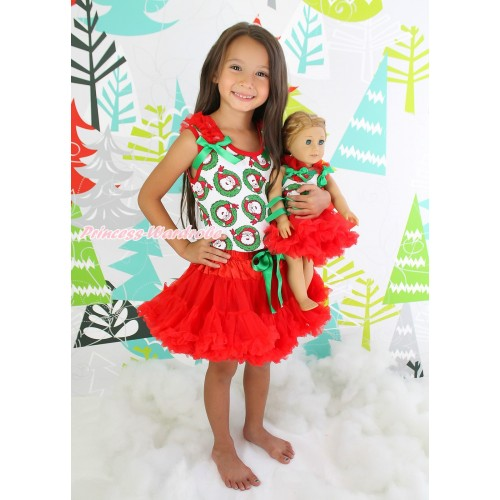 Xmas Santa Claus Tank Top Red Ruffles Kelly Green Bows & Red Girl Pettiskirt Matching American Girl Doll Outfit Set DO048