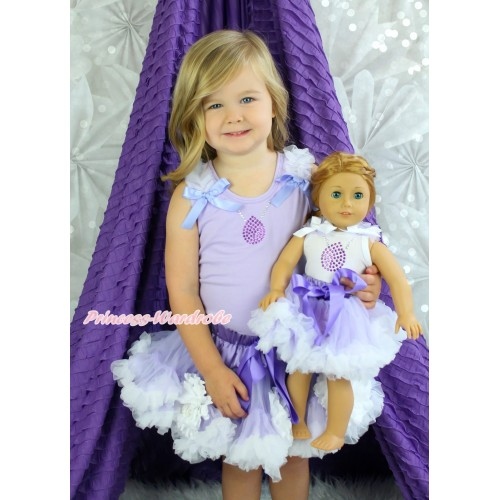 Sofia Lavender Tank Top White Ruffles Lavender Bows & Rhinestone Necklace & White Peony Lavender White Girl Pettiskirt Matching American Girl Doll Outfit Set DO050
