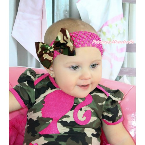 Hot Pink Headband & Camouflage Satin Bow Hair Clip H912
