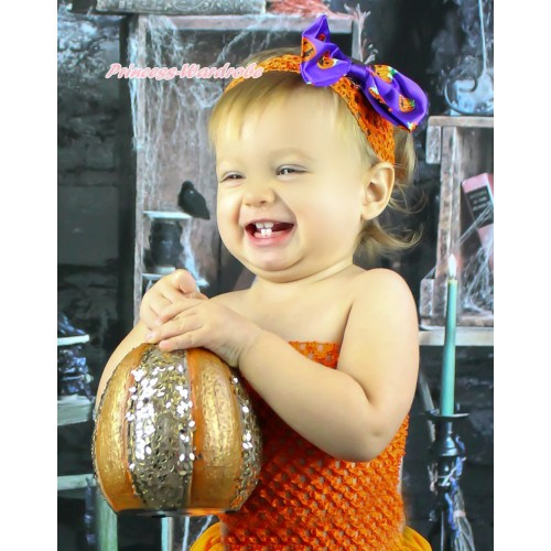 Halloween Orange Headband & Purple Pumpkin Satin Bow Hair Clip H913