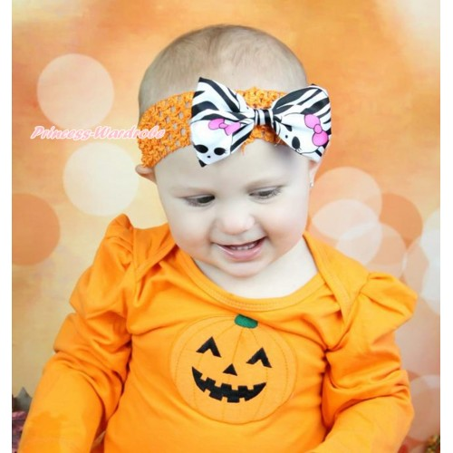 Halloween Orange Headband & Zebra Skeleton Satin Bow Hair Clip H914