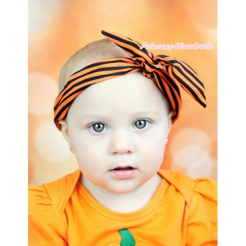 Halloween Orange Black Striped Rabbit Bunny Ear Bow Wire Headband H915