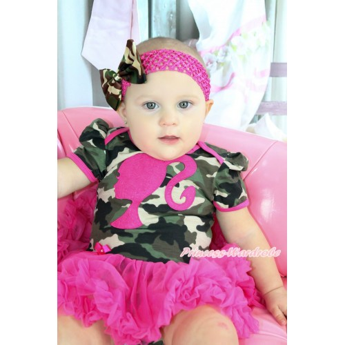 Camouflage Bodysuit Jumpsuit Hot Pink Pettiskirt & Hot Pink Barbie Princess Print & Hot Pink Headband Camouflage Satin Bow JS3794
