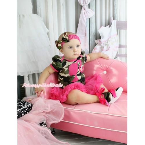 Camouflage Bodysuit Jumpsuit Hot Pink Pettiskirt & Hot Pink Barbie Princess Print & Hot Pink Headband Camouflage Satin Bow & Hot Pink Ribbon Camouflage Shoes JS3815