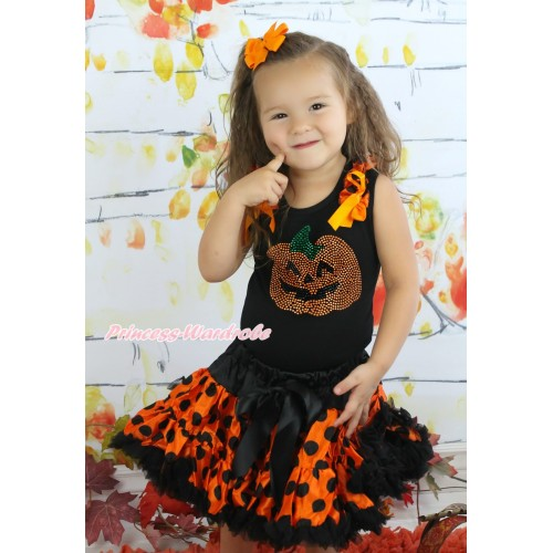 Halloween Black Tank Top Orange Black Dots Ruffles Orange Bows & Sparkle Rhinestoen Pumpkin & Orange Black Dots Pettiskirt MG1343