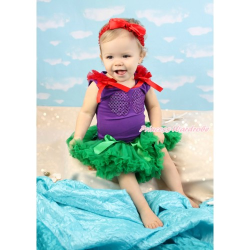 Dark Purple Tank Top Red  Ruffles & Bow & Mermaid Sea Shell Bra & Kelly Green Pettiskirt MN139