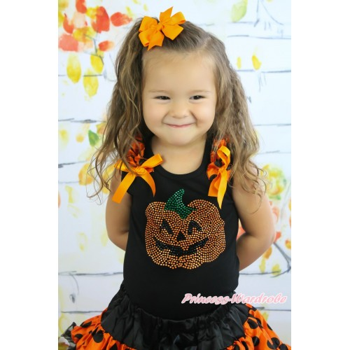 Halloween Black Tank Top Orange Black Dots Ruffles Orange Bow & Sparkle Rhinestone Pumpkin TB926
