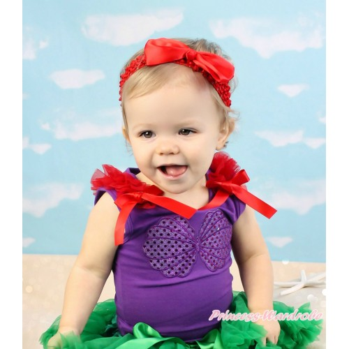 Dark Purple Tank Top Red Ruffles & Bow & Mermaid Sea Shell Bra Print TN263