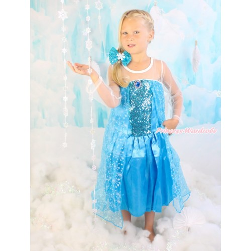 Frozen Elsa Blue Sparkle Bling Crystal Long Sleeve Dress Dress Up Party Costume C003