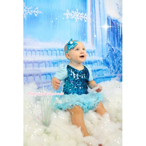 Frozen Blue Sparkle Sequins Baby Bodysuit Light Blue Pettiskirt JS3875